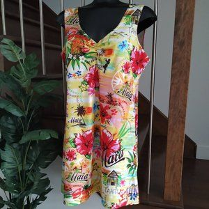 👙 Tropical Floral Beach Quotes Dress Cover-Up